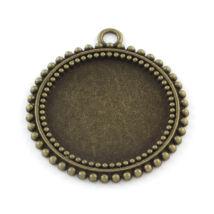 Pöttyös szélű medál alap bronz 25mm-es lencséhez-Nikkelmentes