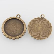 Hullámos szélű medál alap bronz 20mm-es lencséhez-Nikkelmentes