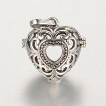 Szív formájú angyalhívó antikolt ezüst színű