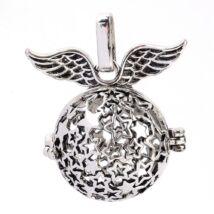 Csillagos szárnyas angyalhívó antik ezüst színű