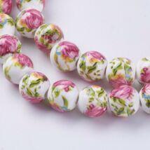 Rózsás porcelán gyöngy 10mm 1db