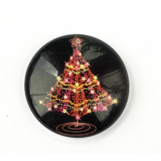 Karácsonyfa mintás üveglencse 25mm