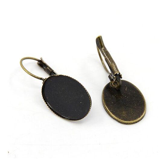 Kapcsos fülbevaló alap bronz 18x25mm-es lencséhez 1db!