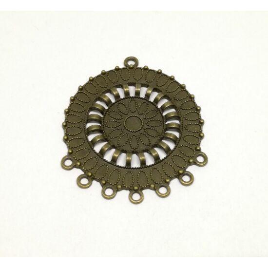Díszes kör összekötő 7 hurokkal bronz