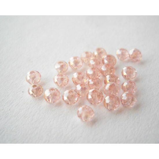 Színjátszós abacus gyöngy 3x2mm rózsaszín 25db
