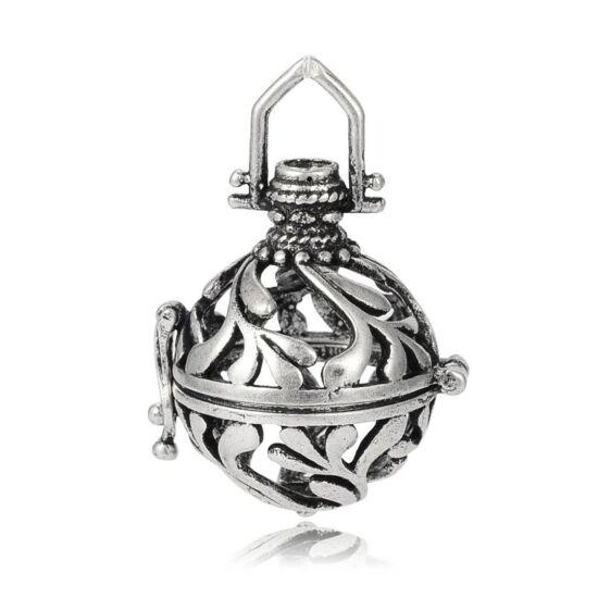 Indás angyalhívó antikolt ezüst