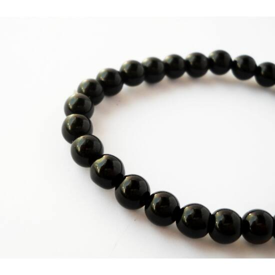 Fekete achát ásványgyöngy gömb 8mm 5db