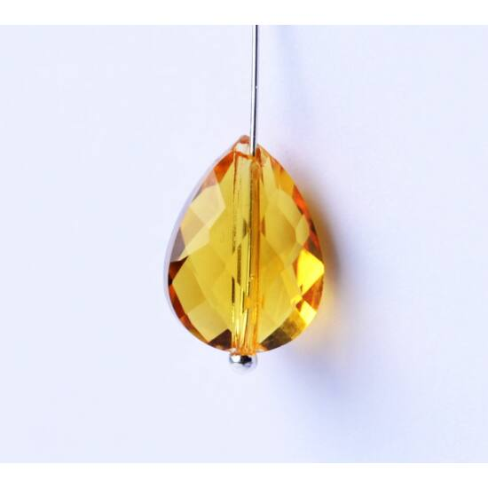 Csiszolt csepp üveggyöngy méz 14x10mm