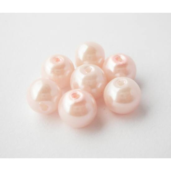 Üveg tekla gyöngy 8mm rózsaszín