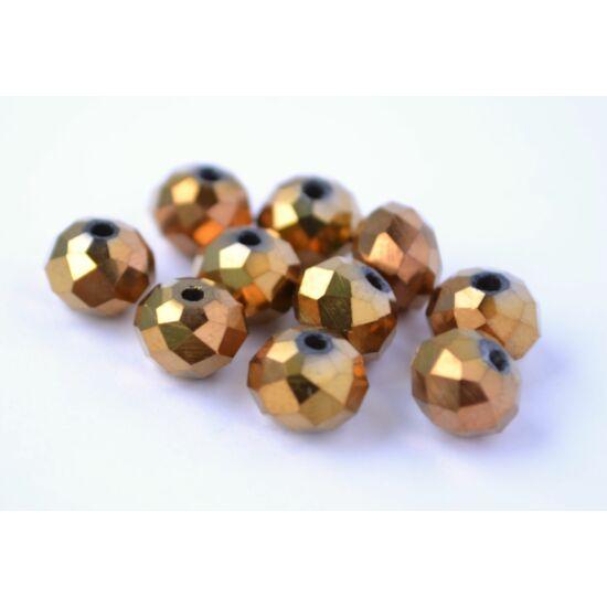 Metál abacus gyöngy 8x6mm 10db bronz