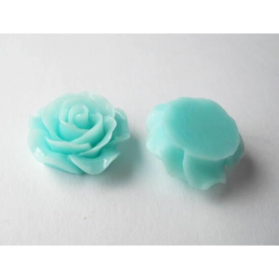 Resin rózsa cabochon aqua