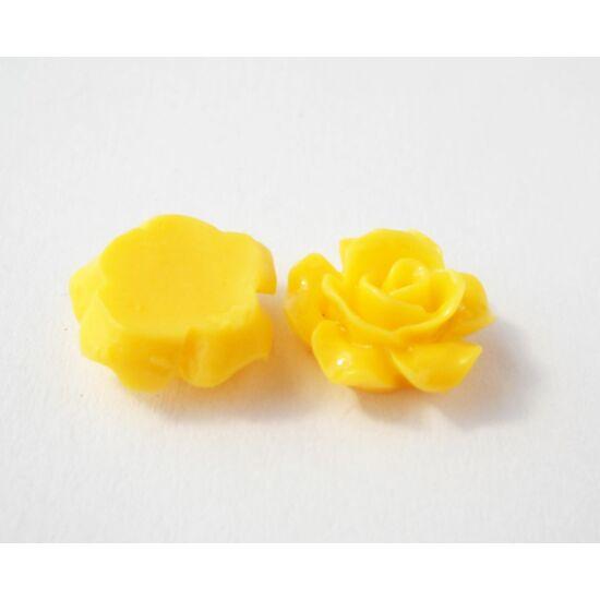 Resin rózsa cabochon napsárga