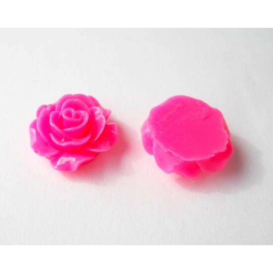 Resin rózsa cabochon neonrózsaszín