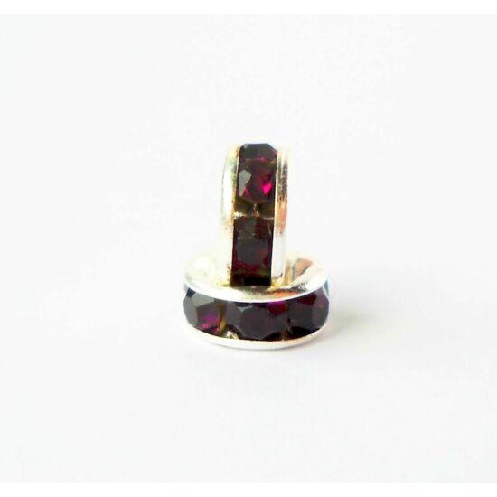 Strasszos köztes lila kövekkel 6mm ezüst