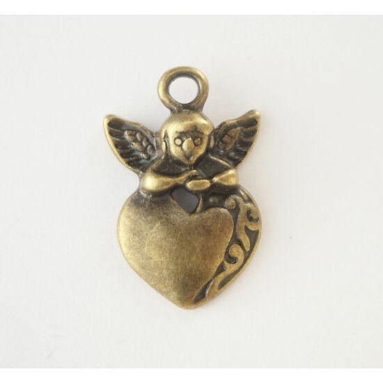 Angyal szívvel charm bronz -Nikkelmentes