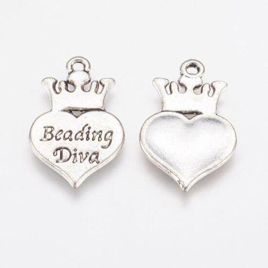 Beading diva charm ezüst