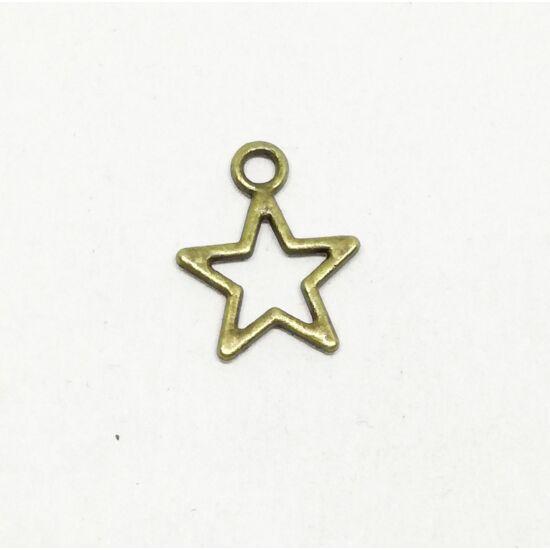 Áttört csillag charm bronz