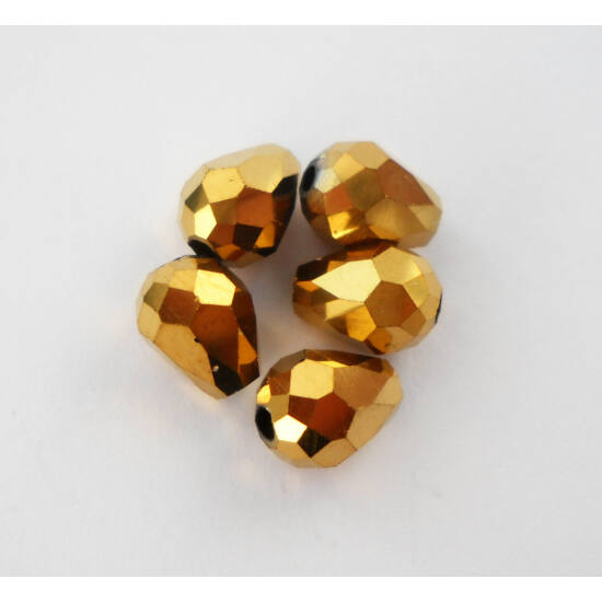 Metál csepp üveggyöngy 8x6mm arany
