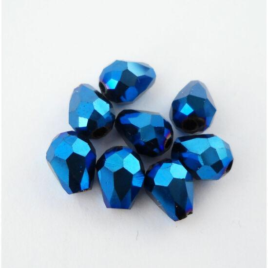 Metál csepp üveggyöngy 8x6mm kék