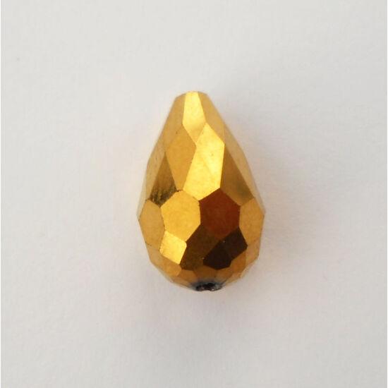 Metál csepp üveggyöngy 15x10mm arany