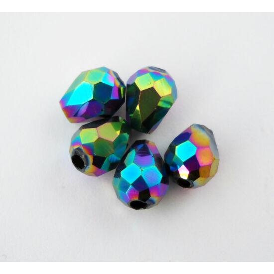 Metál csepp üveggyöngy 8x6mm színjátszós