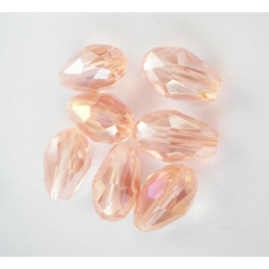 Színjátszós csiszolt csepp üveggyöngy 11x8mm rózsaszín