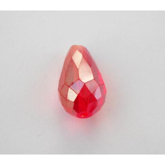 Színjátszós csiszolt csepp üveggyöngy 15x10mm piros