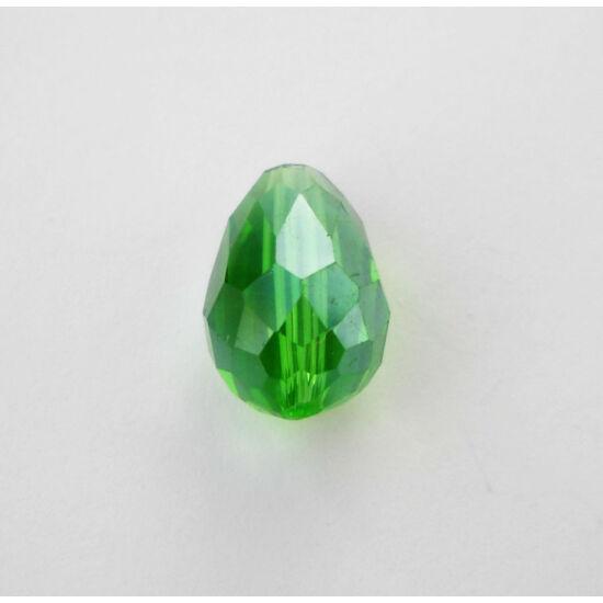 Színjátszós csiszolt csepp üveggyöngy 15x10mm zöld