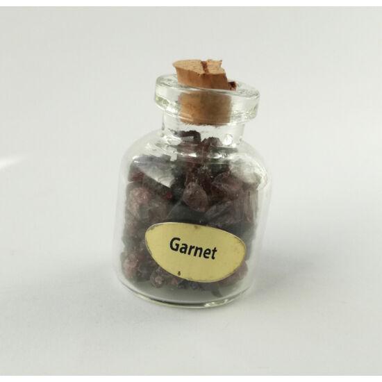 Gránát ásványchips üvegben