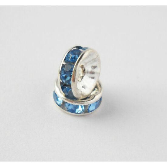 Strasszos köztes világoskék kövekkel 8mm ezüst