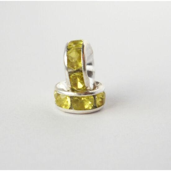 Strasszos köztes sárgászöld kövekkel 8mm ezüst