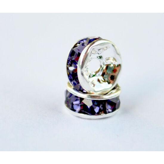 Strasszos köztes tanzanit színű kövekkel ezüst 6mm-Nikkelmentes!