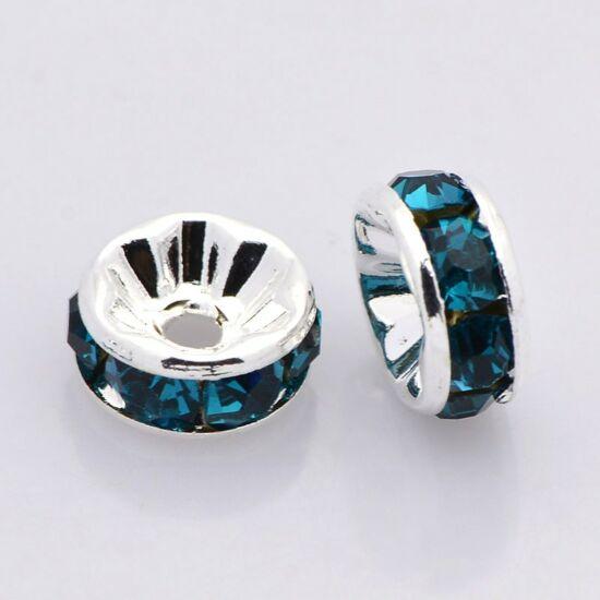 Strasszos köztes 6mm ezüst blue zircon