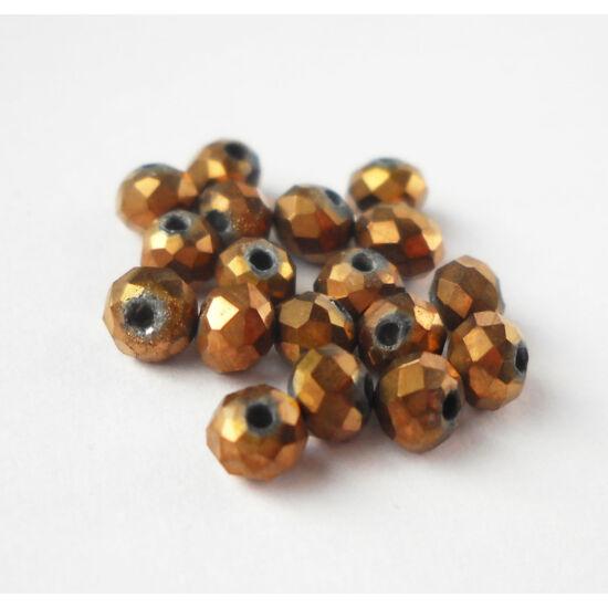 Metál abacus gyöngy 4x3mm 25db bronz