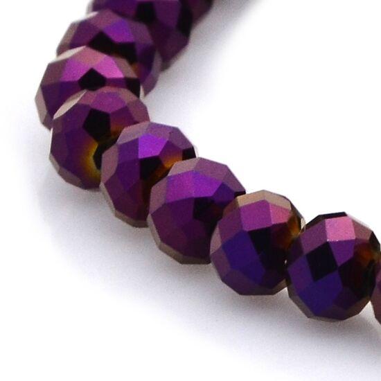 Metál abacus gyöngy 6x4mm lila 20db