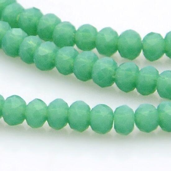 Opál abacus gyöngy 3x2mm türkizzöld 25db