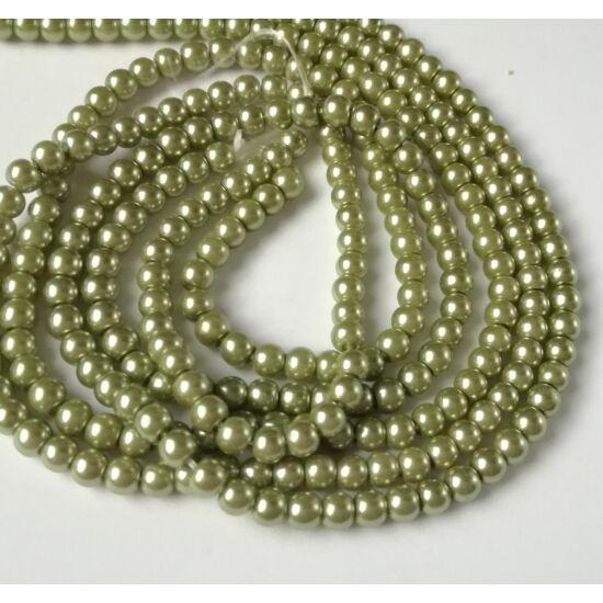 Üveg tekla gyöngy 4mm olivazöld 25db