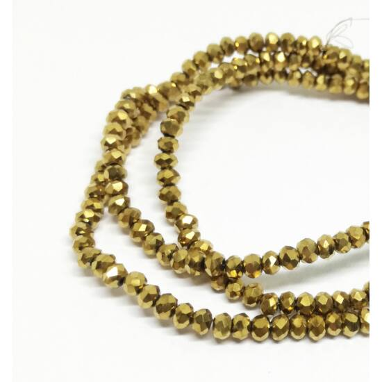 Metál abacus gyöngy 3x2mm arany 25db