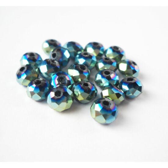 Metál abacus gyöngy 4x3mm 25db kék-zöld