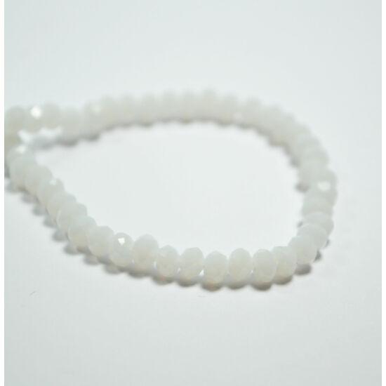Opál abacus gyöngy 4x3mm fehér 25db