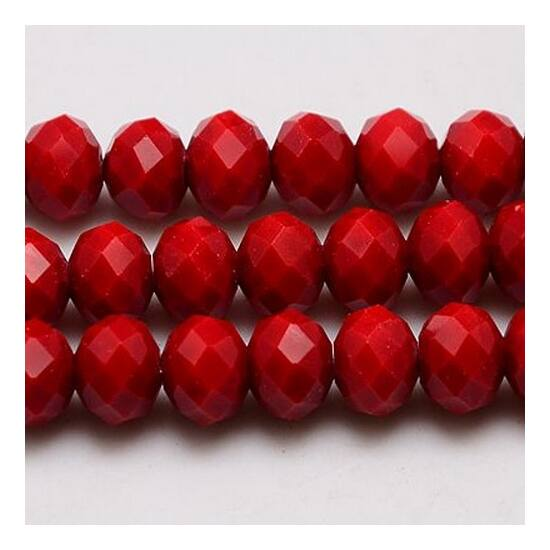 Opál abacus gyöngy 4x3mm piros 25db