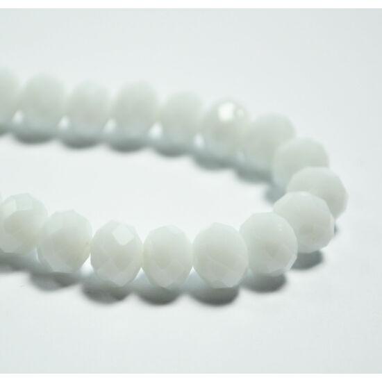 Opál abacus gyöngy 8x6mm fehér 10db