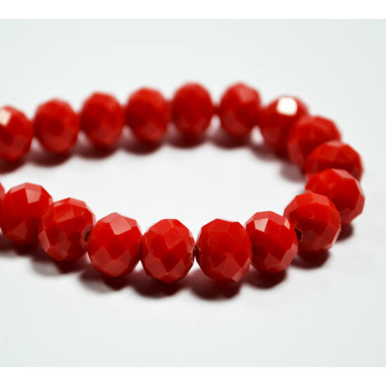 Opál abacus gyöngy 8x6mm piros 10db