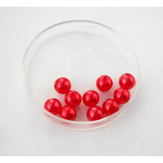 Viaszgyöngy 6mm piros 10db