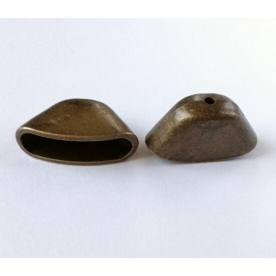 Óriás lapított gyöngykupak antikolt bronz