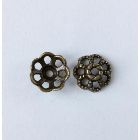 Áttört gyöngykupak antikolt bronz