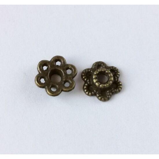 Áttört kicsi gyöngykupak antikolt bronz