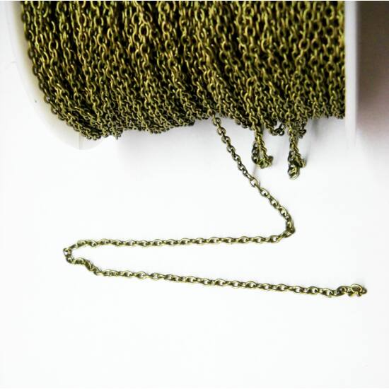 Szakadásálló antik bronz ékszer lánc 2x3mm 1m-Nikkelmentes!