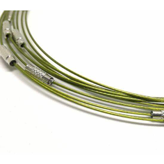 Merev acélsodrony nyaklánc alap olivazöld