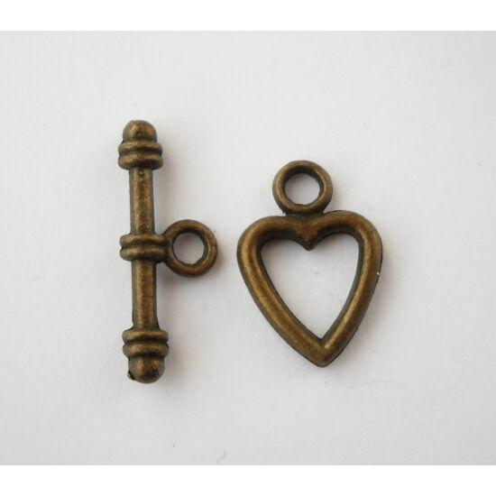 Szív T-kapocs bronz-Nikkelmentes!